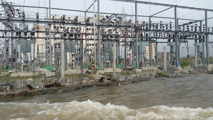 Flooded electrical substation
